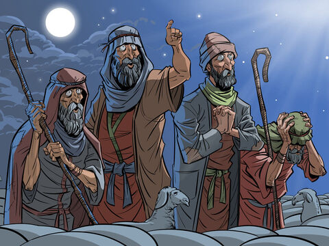 Shepherds in the fields near Bethlehem are told of the birth of a Saviour. <br/>Luke 2:8-20 – Slide 1