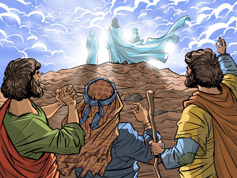 Jesus takes Peter, James and John to a mountain top to pray and is transfigured. <br/>Matthew 17:1-13, Mark 9:2-13, Luke 9:28-37 – Slide 7