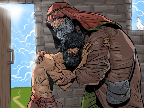The prodigal son returns to his father.<br/>Luke 15:11-32 – Slide 3