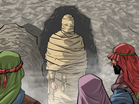 Jesus calls Lazarus to come out of the tomb.<br/>John 11:1-45 – Slide 4
