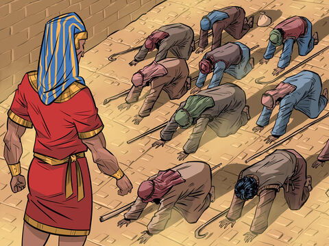The brothers return for more grain and take Benjamin with them. They bow before him before Joseph reveals his identity. Isaac is taken down to Egypt for a reunion with Joseph. <br/>Genesis 43-50 – Slide 5