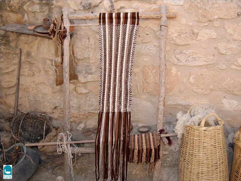 Looms were generally upright frames made of wood. Delilah used such a loom to weave Samson's long hair (Judges 16:13-14). – Slide 11