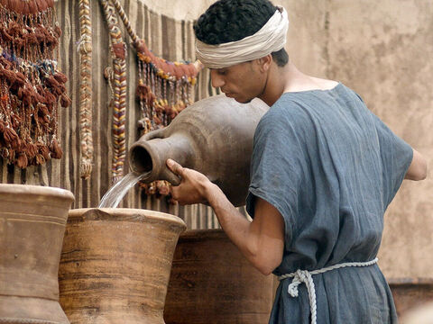 They filled the six large jars to the brim with water. – Slide 7