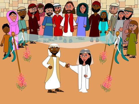 One day Jesus, His mother and His disciples were invited to a wedding in a place called Cana in Galilee. It was very exciting watching the bride and groom marry. Everyone was very happy for them both. – Slide 1