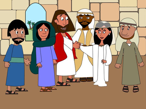 Jesus and all the wedding guests congratulated the married couple. Now the wedding ceremony was over it was time to have a big party. – Slide 2