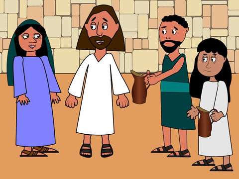 Mary had an idea. She went to Jesus and asked him to help. Jesus looked at His mother. 'It is not time to start my miracles yet,' He replied. His mother smiled and told the servants to do whatever Jesus said. She knew Jesus would help because He loved people. – Slide 6