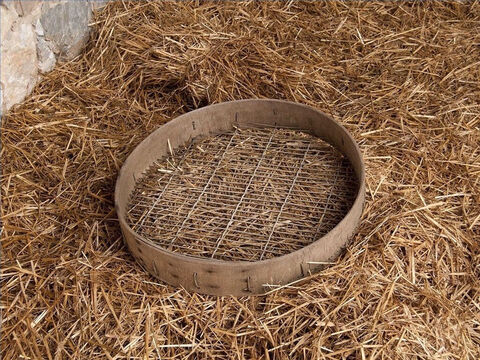 As the grain still had elements of chaff, tares or small stones, it was then put through a sieve. – Slide 26