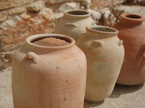 Grain was stored in earthenware jars, in dry cisterns under the ground, or in barns (Luke12:18). – Slide 28