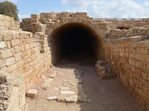 This is an underground granary from Bible times in Caesarea Maritime. – Slide 29