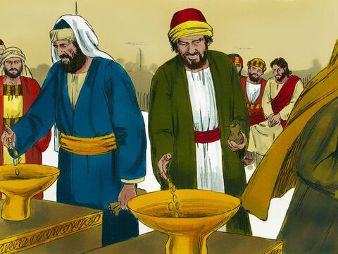 Jesus was sitting in the Temple in Jerusalem opposite the place where people gave their offerings. He watched as people put money into the large golden trumpet-shape bowls and he could hear the coins falling into the large treasury chests underneath. (There were 13 'trumpet' treasury chests in the temple). – Slide 1