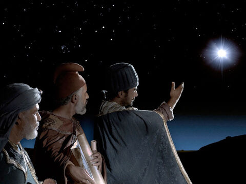 Wise Men (Magi) in the East saw a new and very bright star in the sky. To them it was the sign of a newborn king. They set off in the direction of the star to bring Him gifts. – Slide 1