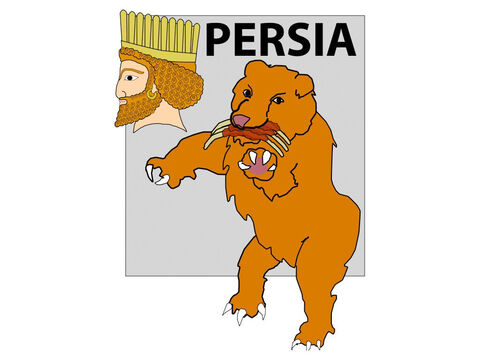(Most believe this bear represented the empire of the Medes and Persians that later overcame the Babylonian empire). – Slide 12