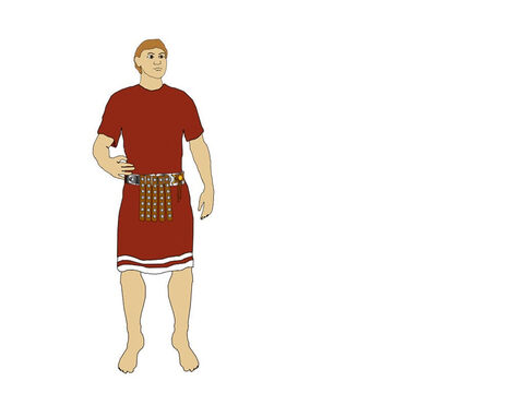 Over this he placed a belt (Cintus) with protective strips of leather, strengthened with metal disks. – Slide 2
