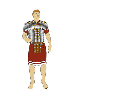 The body armour (Lorica Segmentata) was made from overlapping iron strips, fastened with hooks and laces at the front and hinged at the back. These were held together by vertical leather strips on the inside. The armour allowed the soldier to bend whilst being well protected. It was strengthened by front and back plates below the neck. The shoulders were protected by curved pieces of iron. – Slide 3