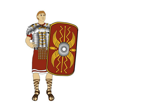 On the left side of the soldier's body was his trusty shield (Scutum). It was a semi-circular shield, designed so that any missiles thrown at the soldier would be deflected to one side. This would require less effort by the soldier to defend himself. – Slide 5