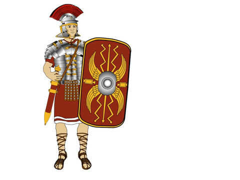 The sword (Gladius) was worn on the right side of his body. This enabled it to be drawn underarm with his right hand without interfering with the shield which he carried in his left hand. – Slide 7