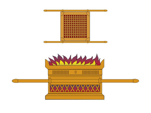 The altar was 7.5ft (3.3m) square and 4.5ft high (1.4m). Four horns projected from the top four corners and animals being sacrificed were put on a bronze grating inside. It was carried with long wooden poles covered with bronze. The brazen altar was continuously burning. – Slide 6