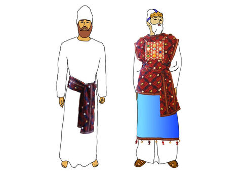 The priests wore white linen garments held together with a sash or girdle made woven fine linen and blue, purple and scarlet yarn (the same as the veil). The high priest wore the ephod, breastpiece, robe and turban over white linen undergarments. – Slide 21