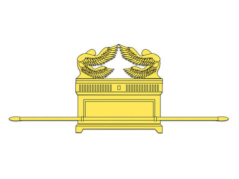 The Ark of the Covenant had an atonement cover (or 'mercy seat') on top of it. It was made of acacia wood, overlaid with pure gold inside and out. On top of the cover stood two cherubim (angels) at the two ends, facing each other. Their outstretched wings covered the atonement cover. – Slide 24