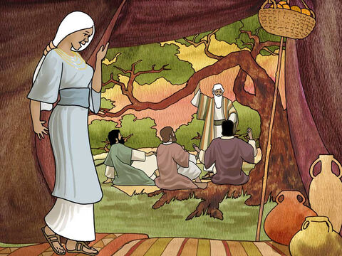 """The Lord visited Abraham under the oaks of Mamre. He said, 'I will surely return to you at this time next year; and behold, Sarah your wife will have a son.' ... the Lord said to Abraham, 'Why did Sarah laugh, saying, """"Shall I indeed bear a child, when I am so old?"""" Is anything too difficult for the Lord?' Genesis 18:10a,12a,13-14a (NASB) – Slide 6"""