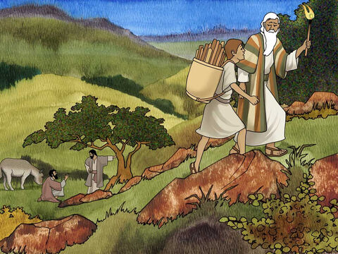 """As they approached the mountain the two servants and donkey were left behind. Isaac asked; 'Behold, the fire and the wood, but where is the lamb for the burnt offering?' Abraham said, 'God will provide for Himself the lamb for the burnt offering, my son.' So the two of them walked on together."""" Genesis 22:7b-8 (NASB) – Slide 10"""