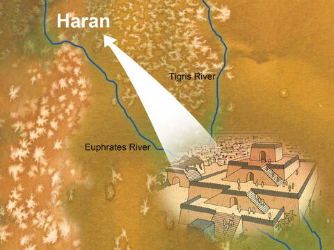 Terah took Abram his son, and Lot the son of Haran, his grandson, and Sarai his daughter-in-law, his son Abram's wife; and they went out together from Ur of the Chaldeans in order to enter the land of Canaan; and they went as far as Haran, and settled there. Genesis 11:31 (NASB). – Slide 1