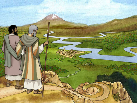 High above the valley floor Abram and Lot discuss their positions. 'Is not the whole land before you? Please separate from me; if to the left, then I will go to the right; or if to the right, then I will go to the left.' Genesis 13:9 (NASB). – Slide 5