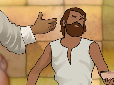 Jesus prepared to heal the blind man. He spat on the ground and made clay. Then He applied the clay to the blind man's eyes. Lastly Jesus told the man to go wash in the pool of Siloam. – Slide 5