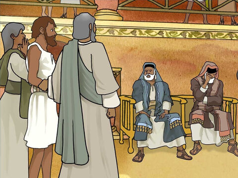 Next the Pharisees questioned his parents. They were frightened of the Pharisees because they knew if they praised Jesus they would be thrown out of the synagogue. So they only admitted that their son was born blind. – Slide 11