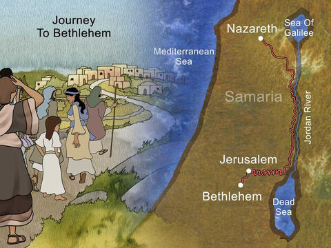 Caesar Augustus ordered a census. 'Now Joseph also went up from Galilee, from the city of Nazareth, to Judea, to the city of David which is called Bethlehem, because he was of the house and family of David, in order to register along with Mary, who was betrothed to him, and was pregnant.' Luke 2:4-5 (NASB) – Slide 14