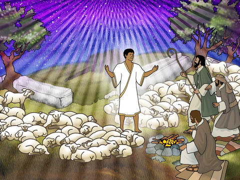 'In the same region there were some shepherds staying out in the fields and keeping watch over their flock at night. And an angel of the Lord suddenly stood near them, and the glory of the Lord shone around them; and they were terribly frightened.'  Luke 2-9 (NASB) – Slide 16