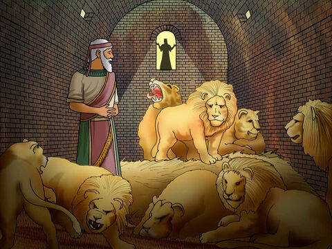 """'Then Daniel spoke to the king, """"O king, live forever! My God sent His angel and shut the lions' mouths, and they have not harmed me, since I was found innocent before Him; and also toward you, O king, I have committed no crime.""""' Daniel 6:21-22 (NASB) – Slide 15"""