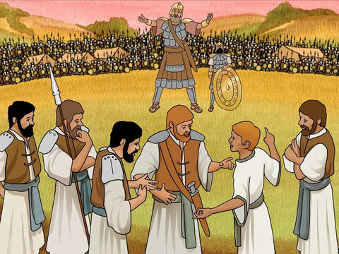 David went to visit his brothers at the battle ground. 'As he was talking with them, behold, the champion, the Philistine from Gath named Goliath, was coming up from the army of the Philistines, and he spoke these same words; and David heard them.' 1 Samuel 17:23 (NASB) – Slide 11