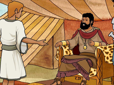 "'When the words which David spoke were heard, they told them to Saul, and he sent for him. David said to Saul, ""Let no man's heart fail on account of him; your servant will go and fight with this Philistine.""' 1 Samuel 17:31-32 (NASB) – Slide 13"