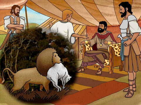David explained to King Saul how he had killed both a lion and bear that had attacked his father's flock. 'The Lord who rescued me from the paw of the lion and the paw of the bear will rescue me from the hand of this Philistine.' <br/>Saul told David, 'Go, and may the Lord be with you.' – Slide 15