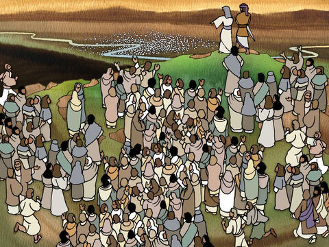 Deborah, Barak and the brave Israelites stood on Mount Tabor and watched below as the Sisera organised his mighty force of chariots near the river Kishon. They grew tense as they saw this mighty foe below. How could they possibly fight against such a strong army? – Slide 12