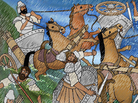 The Lord confused Sisera and his chariots as the water in the river Kishon rose to a mighty torrent, flooded the land and swept many of the army away. – Slide 14