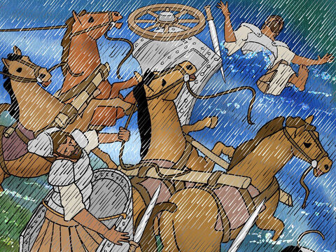 Barak pursued the fleeing chariots and the army as far as Harosheth-hagoyim, defeating the whole army. – Slide 15