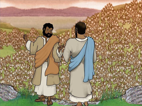 Jesus asked one of His disciples, Philip, where they could buy bread for all these hungry people. Bewildered with the question Philip answered that it was impossible to get food anywhere to feed so many people. – Slide 6