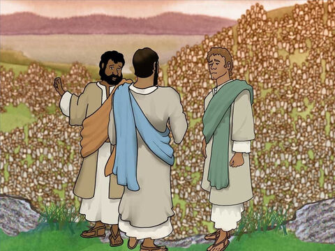 Another disciple, Andrew, heard the question Jesus asked Philip.  He told Jesus that he knew a lad who had a lunch of five barley loaves and two fish. But, how could that be helpful? Jesus asked Philip to get the lunch and the disciples were told to get everyone sitting down. – Slide 7