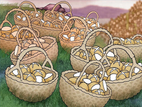 Then Jesus told them, 'Gather up the leftover fragments so that nothing will be lost.' Twelve baskets were filled with the leftover fragments. God provided food for everyone. Jesus used a willing boy's gift to bless thousands. – Slide 10