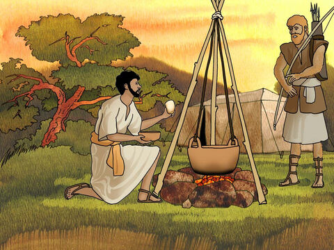When Jacob had cooked stew, Esau came in from the field and he was famished; and Esau said to Jacob, 'Please let me have a swallow of that red stuff there, for I am famished.' Therefore his name was called Edom. <br/>But Jacob said, 'First sell me your birthright.' (Genesis 25:29-31 - NASB) – Slide 3