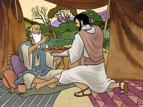 Although Isaac could not see, he was not sure that it was really Esau who brought him the meal. Issac asked Jacob directly, 'Is it really you Esau?' and again Jacob lied and said that he was Esau. Isaac finally agreed to give the cherished blessing to Jacob. (Genesis 27:20-29) – Slide 8
