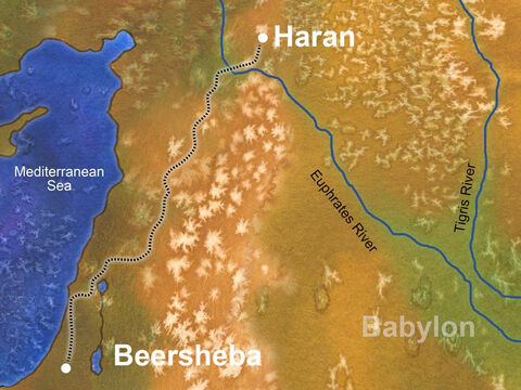 Isaac and Rebekah encouraged Jacob to leave home and travel north to Rebekah's homeland (Haran). There Isaac and Rebekah were hoping Jacob could find a wife of their lineage. It was a long journey and Jacob traveled alone. (Genesis 28:1-7) – Slide 10