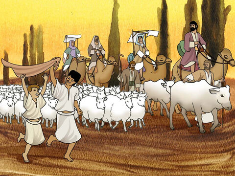 God was with Jacob and blessed him with many children, livestock and wealth. Laban was jealous and kept trying to discourage Jacob. After many years Jacob told Rachel and Leah that he wanted to return home. So they packed up and left for Jacob's homeland. (Genesis 30:25 - 31:21) – Slide 13