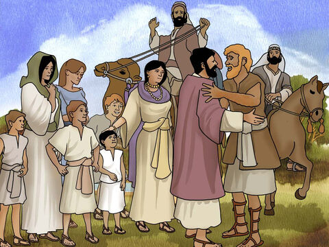 Then Jacob lifted his eyes and looked, and behold, Esau was coming, and four hundred men with him... Then Esau ran to meet him and embraced him, and fell on his neck and kissed him, and they wept... (Genesis 33:1a,4a. - NASB). Thus God blessed Jacob and Esau. – Slide 16