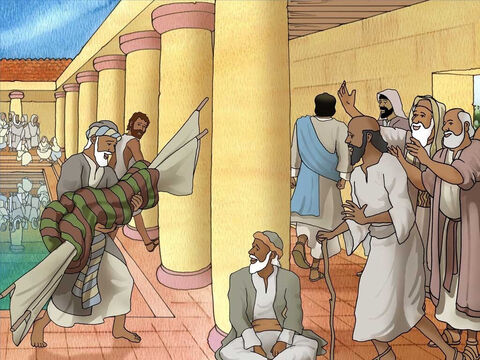 Jesus commanded the sick man, 'Get up, pick up your mat and walk.' The sick man obeyed Jesus and was completely healed. Jesus stepped away in the crowds as many looked on in amazement. – Slide 4