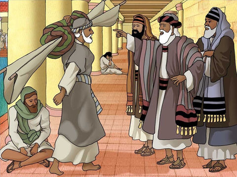 The man continued to carry his mat as Jesus commanded. Some of the Jewish religious leaders looked at him in disgust, as according to the law, no one was to work on the Sabbath. They thought carrying a mat on the Sabbath was work and therefore a sin. – Slide 5