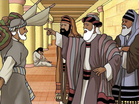 The healed man told the Jews that the man who made him well commanded him to carry his mat. The Jewish religious leaders asked him who had healed him. Jesus had left, and the man did not know that it was Jesus who had made him well. – Slide 6