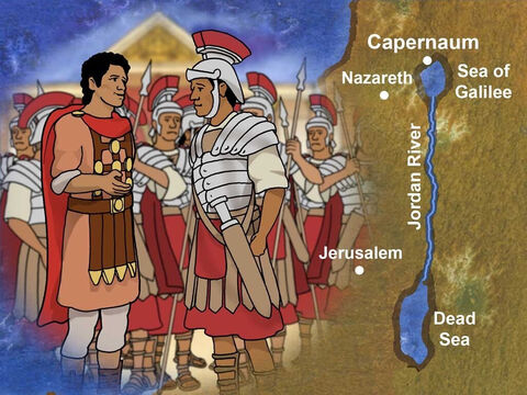 There was a Roman Centurion who lived in the vicinity of Capernaum. A Roman Centurion was a very powerful person in charge of one hundred soldiers. This Centurion was respected and helped the Jewish People. – Slide 1